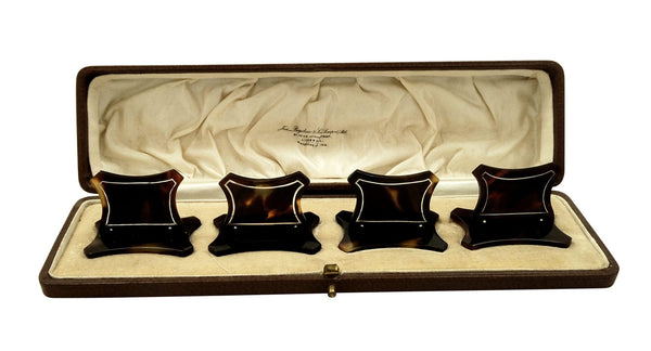 Set of 4 Antique Tortoiseshell & Silver Inlay Menu Holders in Case
