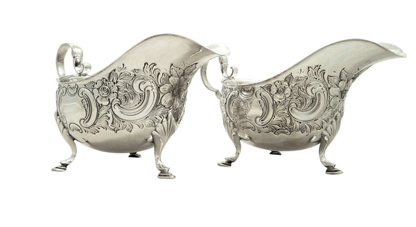 Pair of Antique Sterling Silver Gravy Boats / Sauce Jugs 1912