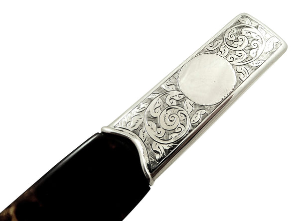 Antique Edwardian Sterling Silver & Tortoiseshell Page Turner/ Paper Knife 1903