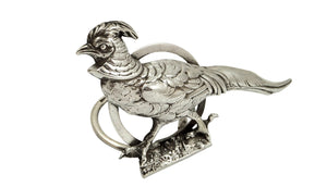 Antique Edwardian Sterling Silver Pheasant Menu Holder 1904