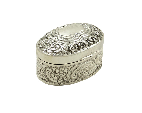 Antique Victorian Sterling Silver Oval Trinket Box 1893
