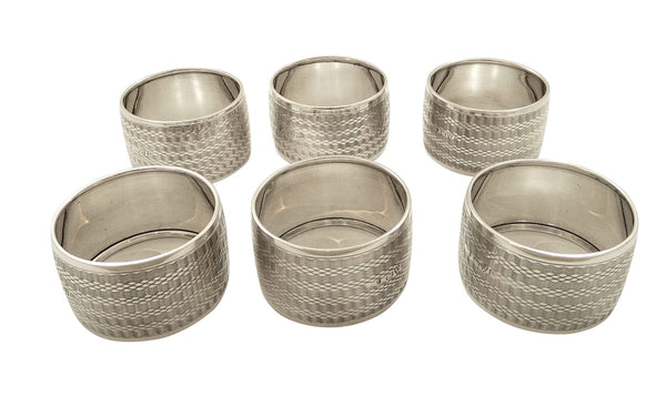 Set of 6 Antique Edwardian Sterling Silver Napkin Rings in Case 1910