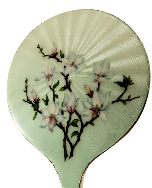 Vintage Sterling Silver & Hand Painted Japonica Enamel Hand Mirror 1965