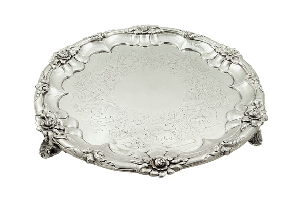 "Antique Early Victorian Sterling Silver 10"" Tray / Salver 1844"