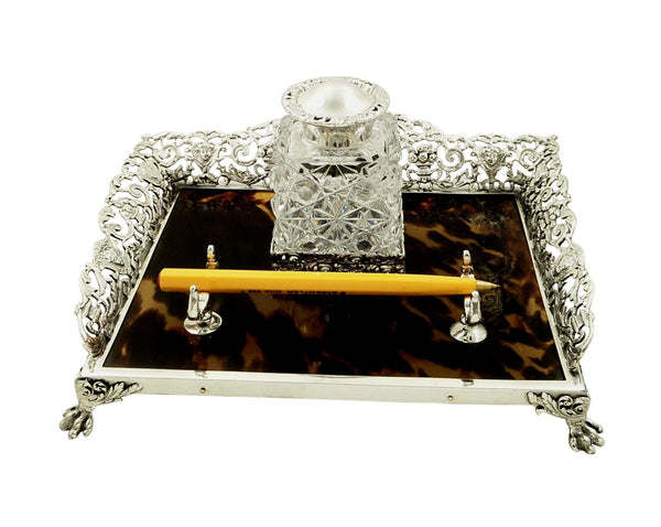 Antique Victorian Sterling Silver & Tortoiseshell Inkstand 1899
