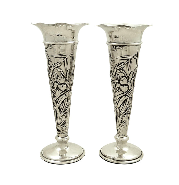 "Pair of Antique Sterling Silver 7 1/2"" Vases 1901"