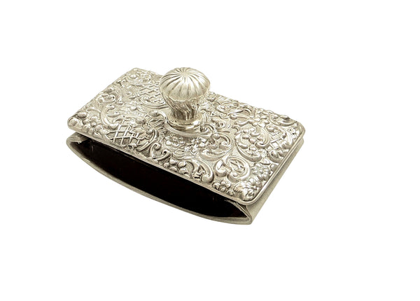 Antique Edwardian Sterling Silver Desk Top Roller Blotter 1902