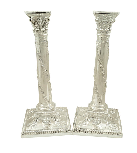 "Pair of Antique Victorian Sterling Silver 10"" Candlesticks 1898"