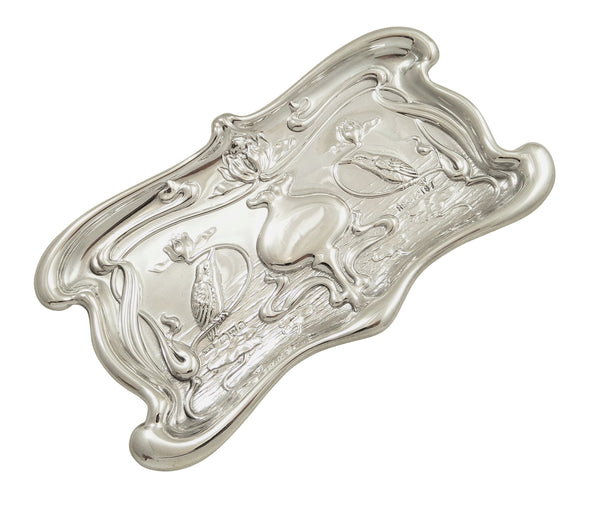 Antique Art Nouveau Sterling Silver Kingfisher Bird Pin Tray 1903