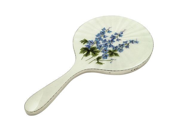 Vintage Sterling Silver & Hand Painted Enamel Forget Me Nots Mirror 1959