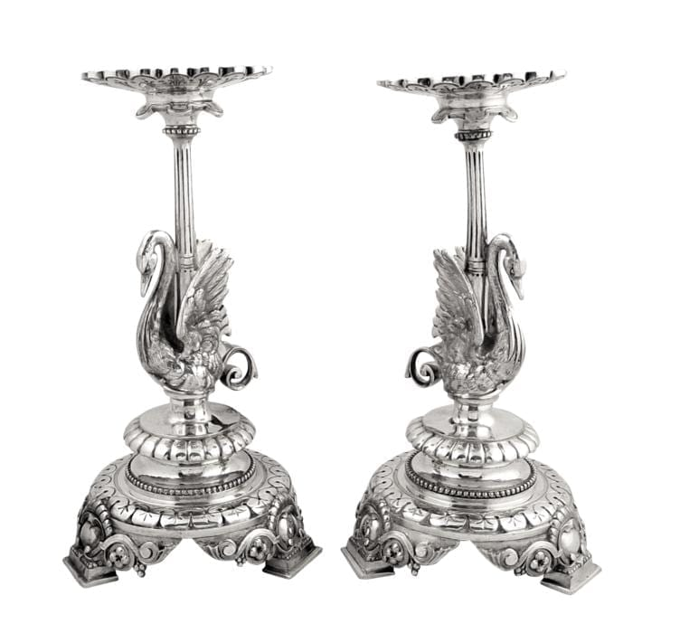 Pair of Antique Victorian Silver Plated Swan Candlesticks – 1895