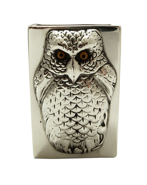 Unusual Antique Edwardian Sterling Silver Owl Match Box Holder 1903