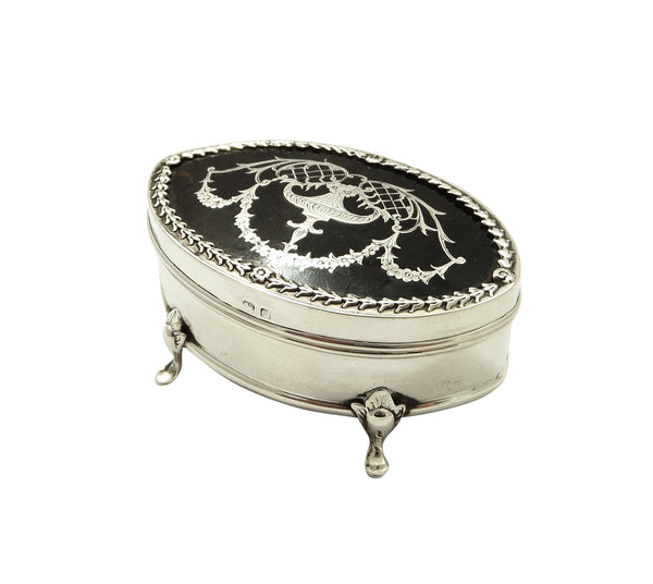 Antique Edwardian Sterling Silver & Tortoiseshell Trinket Box 1910