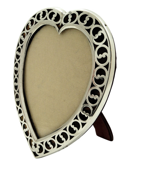 "Antique Victorian Sterling Silver & Tortoiseshell 7"" Heart Photo Frame 1894"