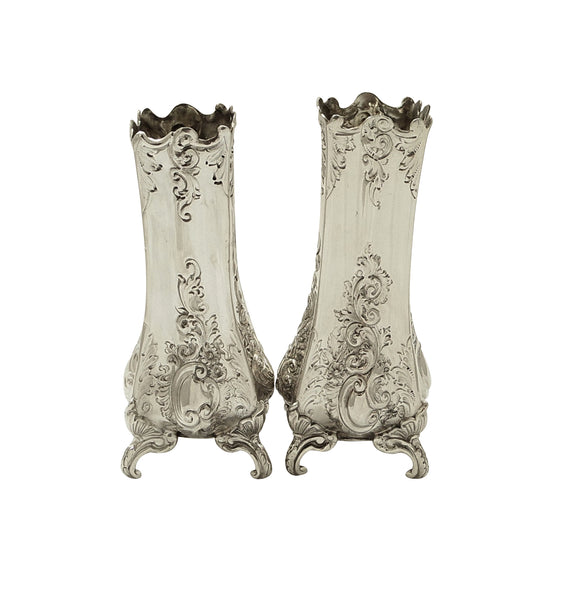 "Pair of Antique Victorian Sterling Silver 5 1/2"" Vases 1895/1896"