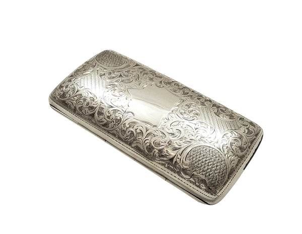 Antique Edwardian Sterling Silver Cigar Case 1904