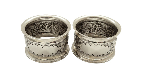 Pair of Antique Victorian Sterling Silver Napkin Rings in Case 1898