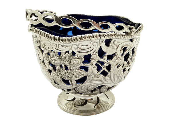 Antique Sterling Silver Basket with Scenes & Blue Glass Liner 1901