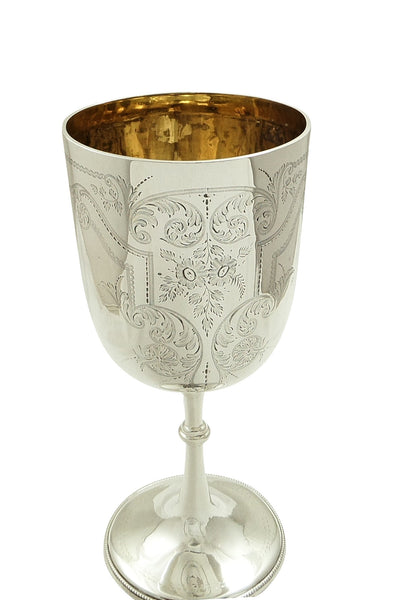 "Antique Victorian Sterling Silver 9"" Wine Goblet 1893"