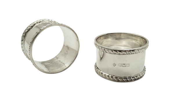 Pair of Antique Edwardian Sterling Silver Napkin Rings 1909