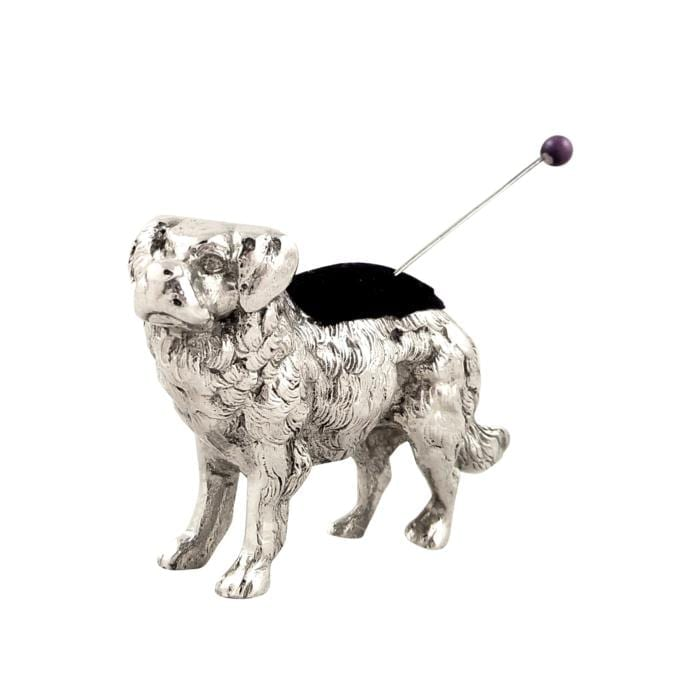 Antique Edwardian Sterling Silver 'Dog' Pin Cushion 1904