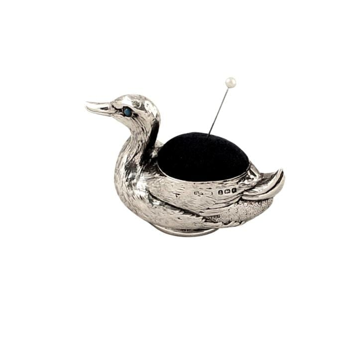 Antique Edwardian Sterling Silver Duck Pin Cushion 1906
