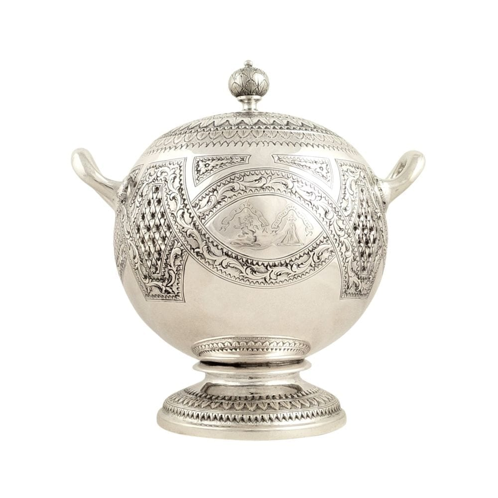 Antique Victorian Scottish Sterling Silver Bowl & Lid – Edinburgh 1858