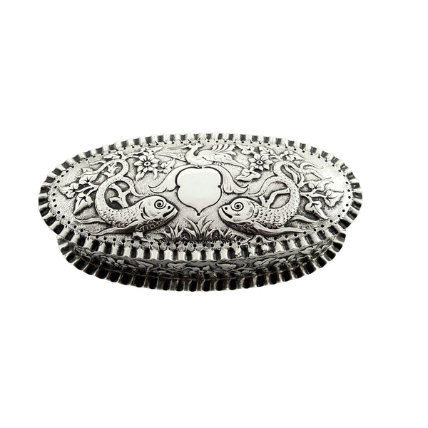 Antique Victorian Sterling Silver 'Fish' Trinket Box 1881