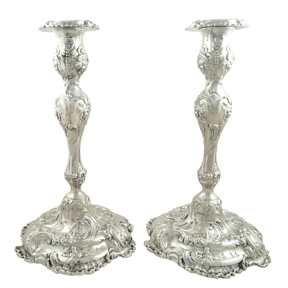 Pair of Antique Victorian Sterling Silver 11″ Candlesticks 1896