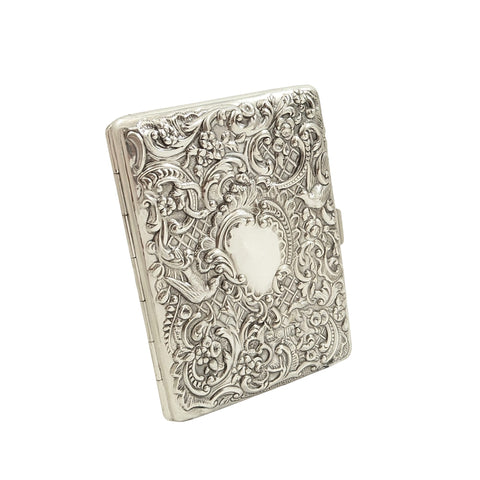 Antique Victorian Sterling Silver Card Case 1897 – Birds & Snakes