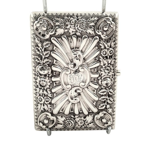 Antique Victorian Sterling Silver Card Case / Aide Memoire 1895