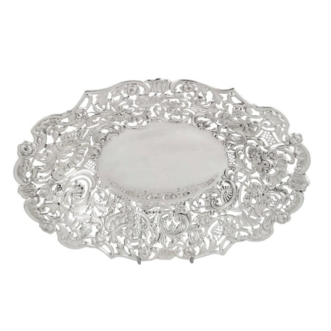 Antique Victorian Sterling Silver 10″ Pierced Dish 1896