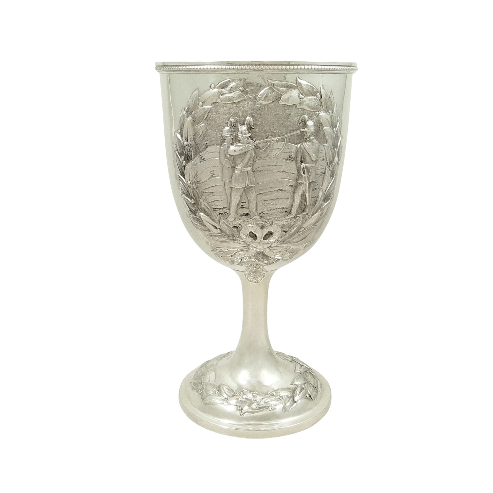 Antique Victorian Sterling Silver Goblet 1865 – Soldiers with Muskets