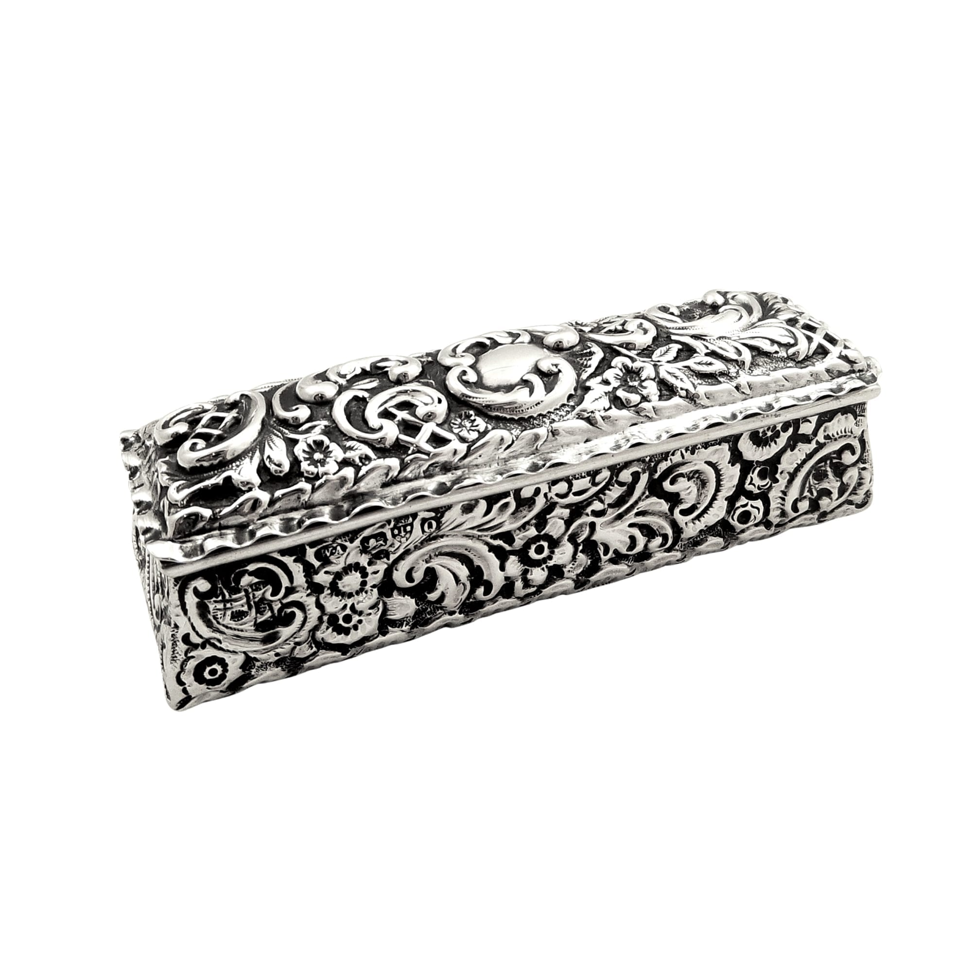 Antique Victorian Sterling Silver Ring Box 1899