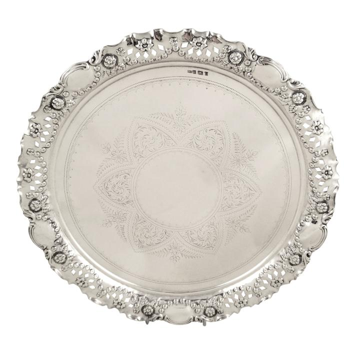 Antique Victorian Sterling Silver Salver/Tray 1900