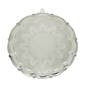 Antique Victorian Sterling Silver 12″ Tray / Salver 1870