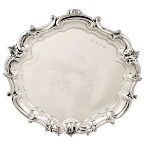 Antique Victorian Sterling Silver Tray / Salver 1898