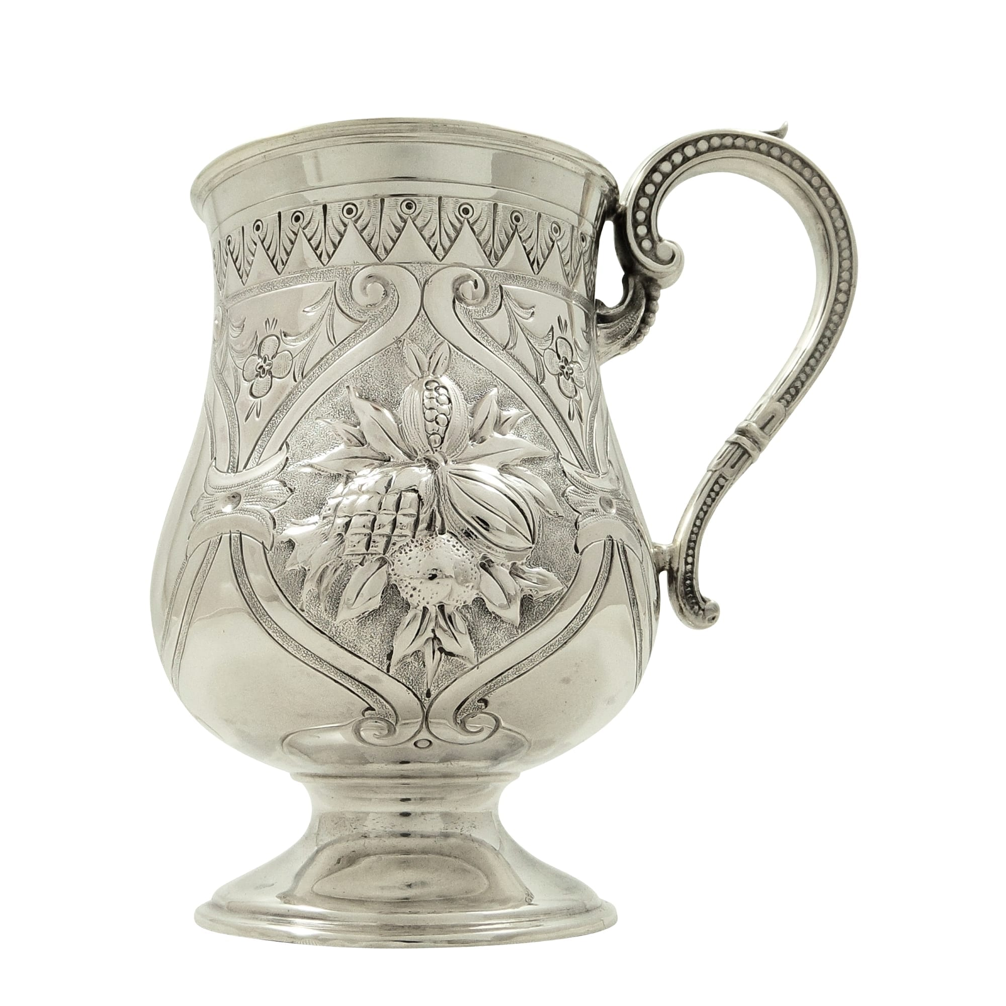 Antique Victorian Sterling Silver Christening Mug / Tankard 1875