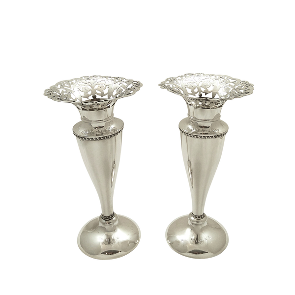 "Pair of Antique Victorian Sterling Silver 7"" Vases 1899"