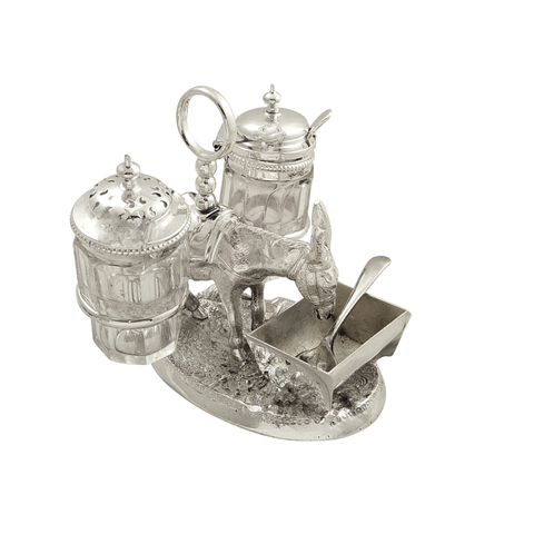 Antique Victorian Silver Plated Donkey Cruet Set 1869