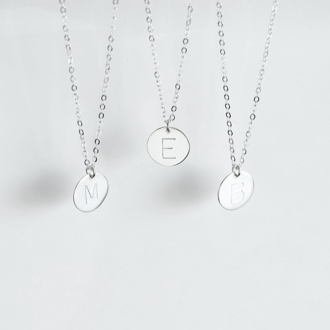 Sterling Silver Dainty Initial Disc Necklace