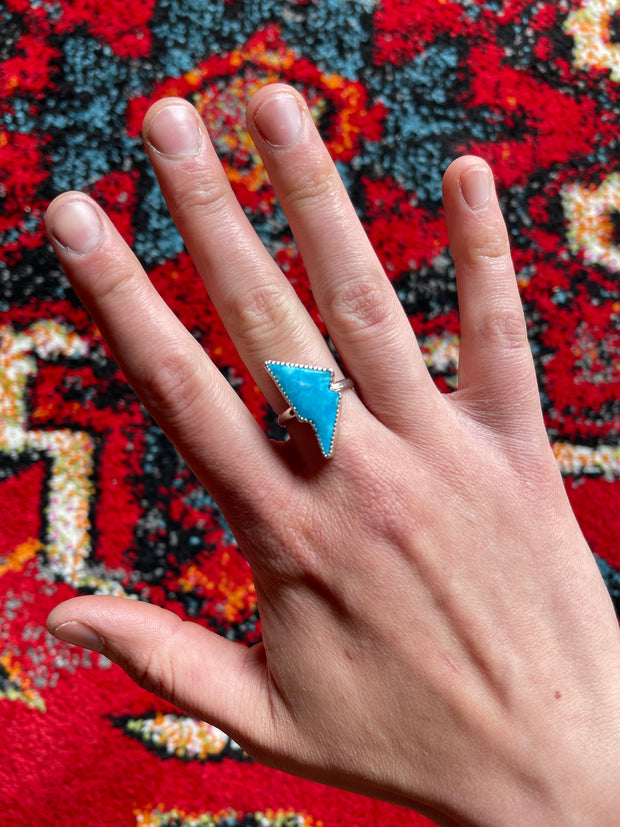 Sonora Blue Lightning Bolt Ring - Size 8