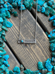 Custom Turquoise + Word Necklace