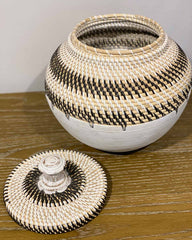 White Rattan Basket with Lid