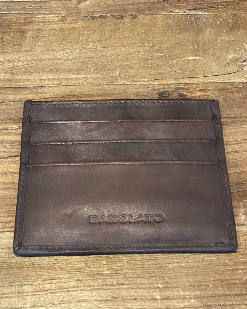 Close up image of mens brown leather card holder wallet.