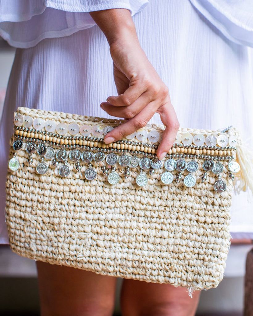 Large Woven Clutch with Coins