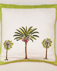 Palm Tree Quilted Cushion Cover