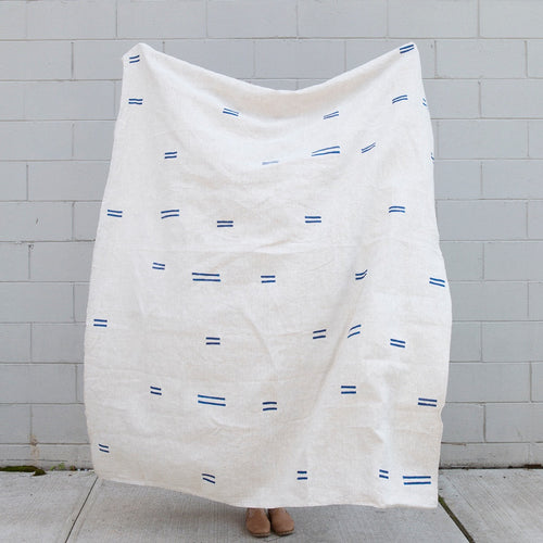 Block Printed Linen Throw