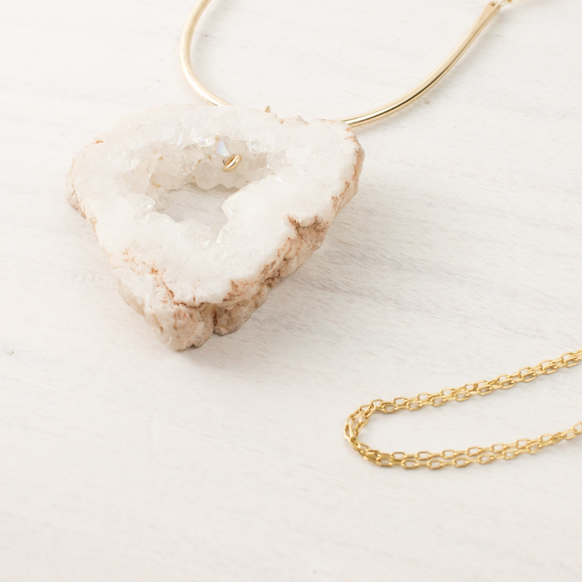 Geode + Pink Chalcedony Arc Necklace