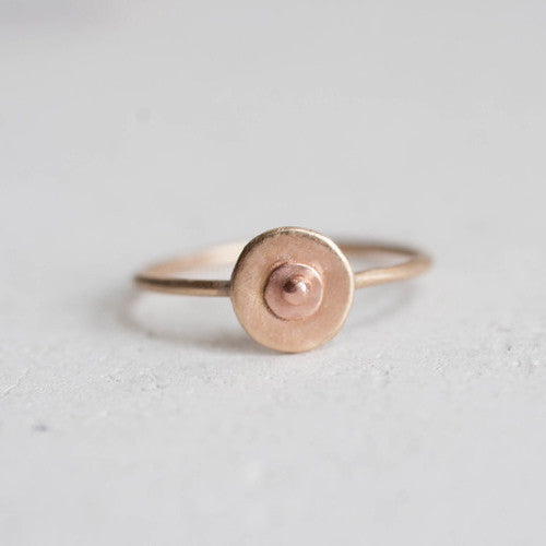 14k Recycled Yellow + Rose Gold Boob Ring